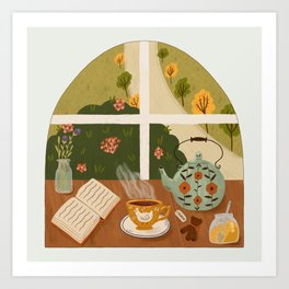 Tea Time by the Window Art Print