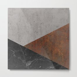 Concrete, Rusted Iron, Marble Abstract Metal Print