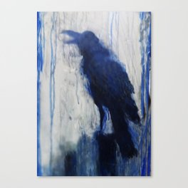 Contemporary Blue Raven Weather Abstract Painting  Canvas Print