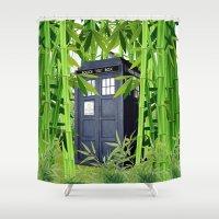 tardis Shower Curtains featuring Tardis by tanduksapi