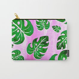 tropical plants on pink Carry-All Pouch