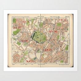 Bacon's Pocket Atlas of London (1921) - 40 Crystal Palace, Upper Sydenham, Upper Norwood, Penge Art Print