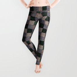 Rustic Gray Green Beige Black Patchwork Leggings