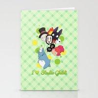studio ghibli Stationery Cards featuring I ♥ Studio Ghibli by Lacis