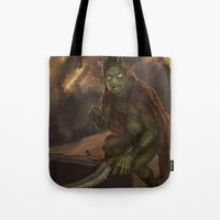 warhammer Tote Bags featuring Goblyn Chief by Tin Man Games