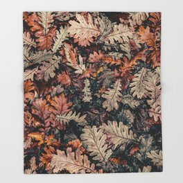 Autumn Leafs Pattern (Color) Throw Blanket