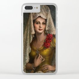 Spanish Beauty with Lace Mantilla and Comb by Jesus Helguera Clear iPhone Case