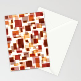 Red Abstract Rectangles Stationery Cards