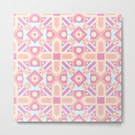 Pink teal yellow ethnic moroccan motif pattern Metal Print
