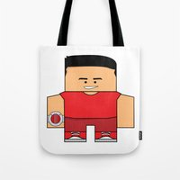 power rangers Tote Bags featuring Mighty Morphin Power Rangers - Jason (The Original Red Ranger) by Choo Koon Designs
