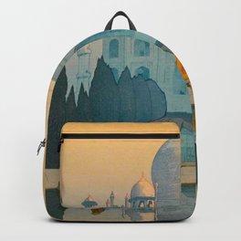 Morning Mist in Taj Mahal Vintage Beautiful Japanese Woodblock Print Hiroshi Yoshida Backpack