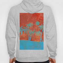 Tropical sunset with blue palm trees Hoody