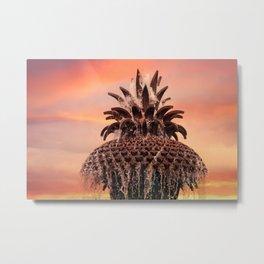 Pineapple Fountain Pink Metal Print