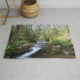mountain stream in May Rug
