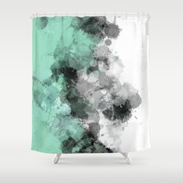 Mint Green Paint Splatter Abstract Shower Curtain