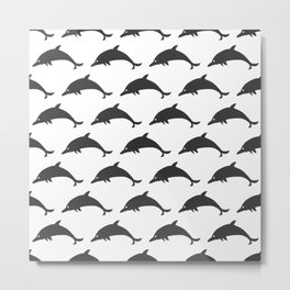 Seamless Pattern with silhouettes of dolphins Metal Print