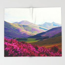 Beautiful Candy Land Fairytale Fantasy Landscape Purple pink Flowers Rolling Hills Moutains Throw Blanket