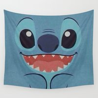 stitch Wall Tapestries featuring Stitch Love by Pink Berry Patterns