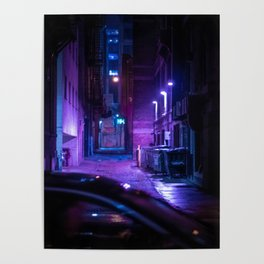 Milwaukee Alley at Night in the Rain 1 Poster