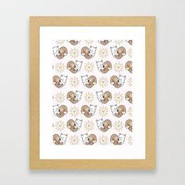 Vector cute cat dog hug hearts Seamless repeat pattern Framed Art Print