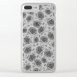 Full Bloom - Floral Print in Black and White Clear iPhone Case