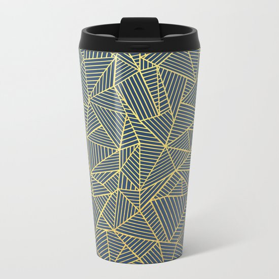 Ab Lines Gold and Navy Metal Travel Mug