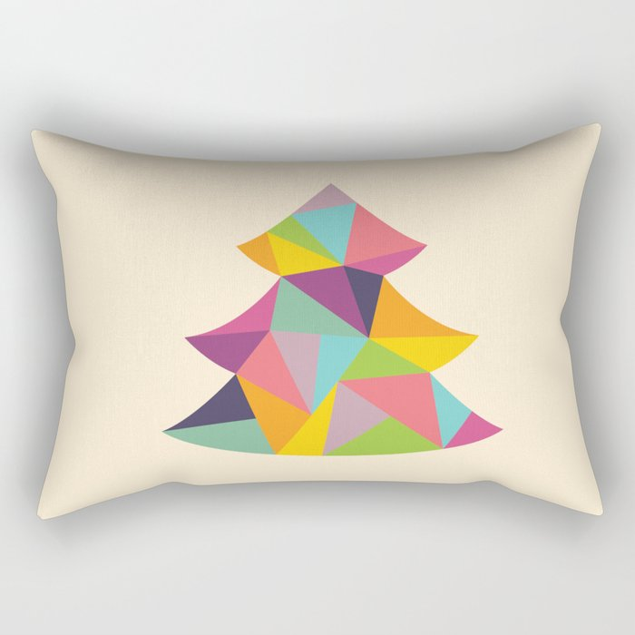 Colourful Christmas Tree Rectangular Pillow