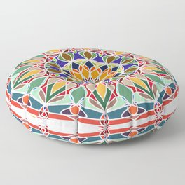 Round ornament in ethnic style Floor Pillow