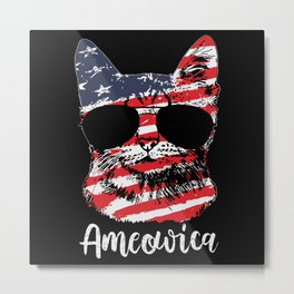 Cute Cat America Usa Flag 4 Th July Metal Print