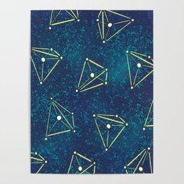 Tetrahedral Molecular Geometry Constellation Art Poster