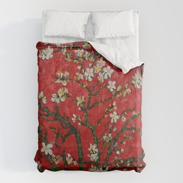 Abstract Daisy With Red Background Duvet Cover