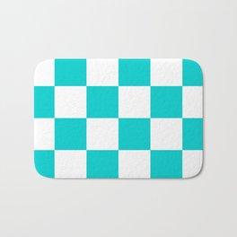 Large Checkered - White and Cyan Bath Mat