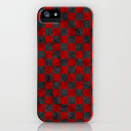 Retro Check Grunge Material Red Black iPhone Case
