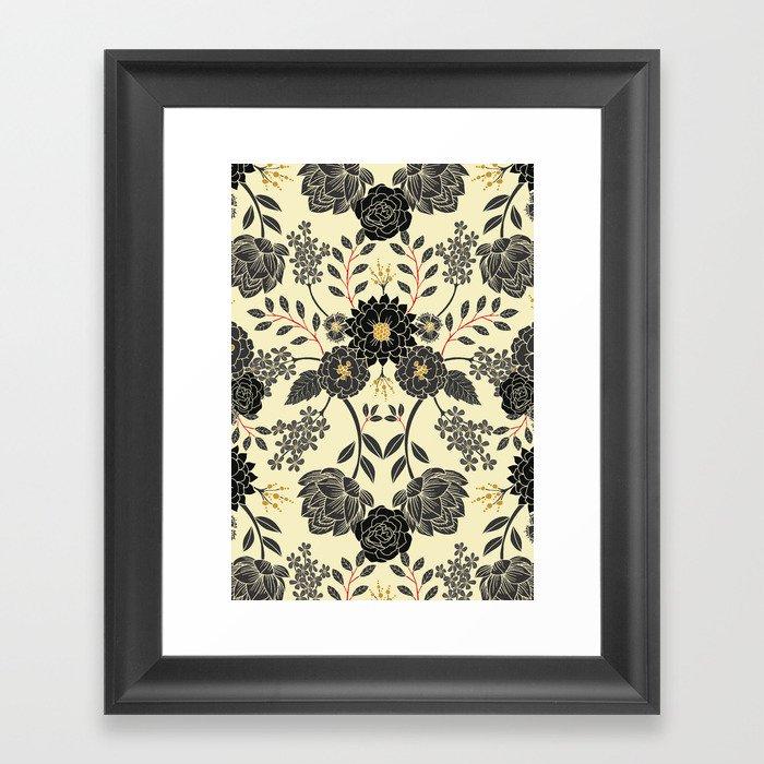 Gray, Black, Cream, Yellow & Red Sophisticated Floral Pattern Gerahmter Kunstdruck