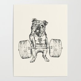 English Bulldog Lift Poster