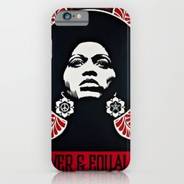 Angela Davis - Power & Equality - Power to the People - Red - African American Vintage Poster iPhone Case