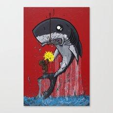 Seal Dragon Punching Shark Canvas Print