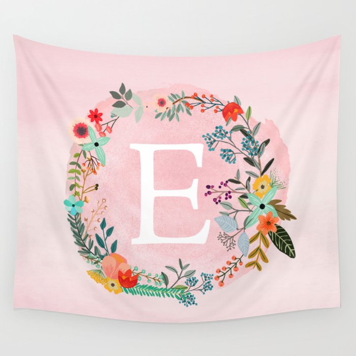 Flower Wreath with Personalized Monogram Initial Letter E on Pink Watercolor Paper Texture Artwork Wall Tapestry