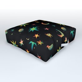 Colorful Watercolor Stars and Moons Pattern Outdoor Floor Cushion