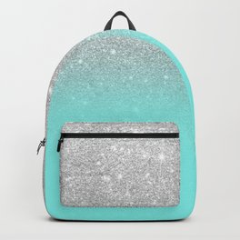 Modern girly faux silver glitter ombre teal ocean color bock Backpack