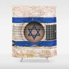 Old Vintage Acoustic Guitar with Israeli Flag Shower Curtain