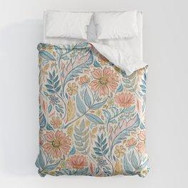 Soft Peach and Blue Art Nouveau Floral Comforters