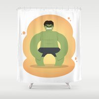 avenger Shower Curtains featuring The angriest of the Avenger: Little Hulk by Artistale