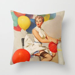 Vintage Pin Up Girl and Colorful Balloons Throw Pillow