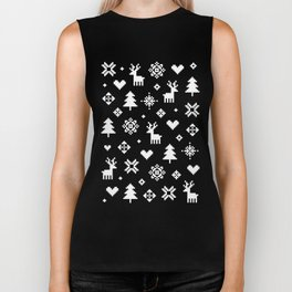 PIXEL PATTERN - WINTER FOREST RED Biker Tank