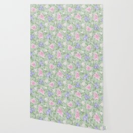 Flower Play Pink Lavender Green Antique Look Wallpaper