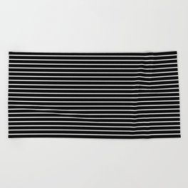 Horizontal Lines (White/Black) Beach Towel