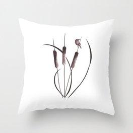 Cattails and Bird Throw Pillow
