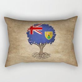 Vintage Tree of Life with Flag of Turks and Caicos Rectangular Pillow