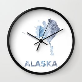 Alaska map outline Light steel blue clouded wash drawing Wall Clock